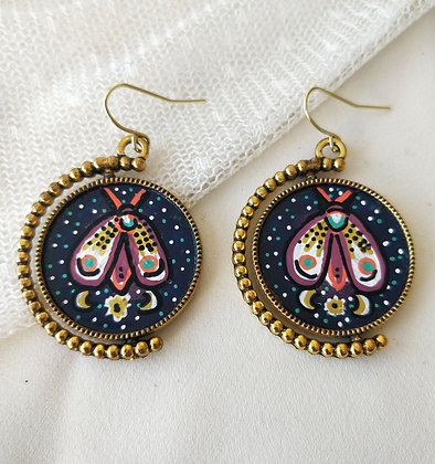 Witching Hour Hand-Painted Bronze Bezel Earrings