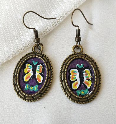 Butterfly Moonlight Hand-Painted Bronze Alloy Earrings