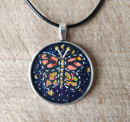 Butterfly Hand Painted Necklace