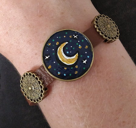 New Moon Hand Painted Bracelet