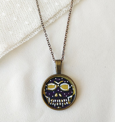 Skull Small Hand-Painted Necklace