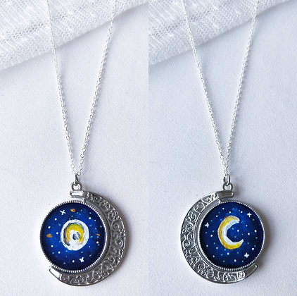 Full Moon Double Sided Hand Painted Necklace