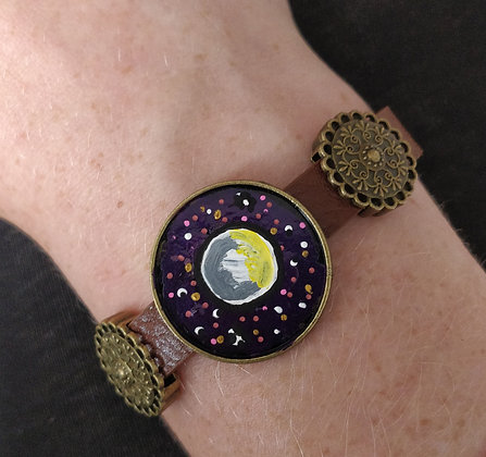 Full Moon Hand Painted Bracelet