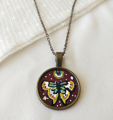 Cosmic Butterfly Small Hand-Painted Necklace
