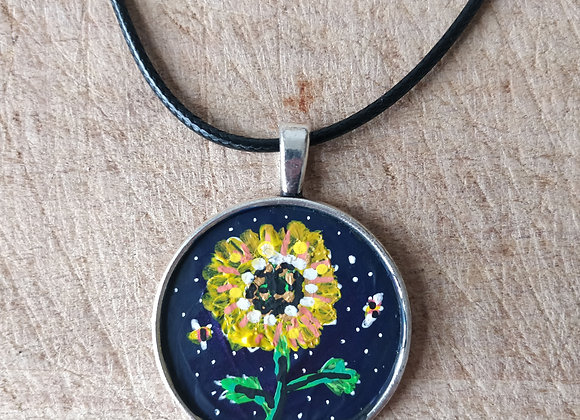 Sunflower Hand Painted Necklace