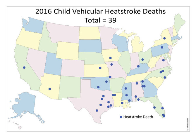 A 2016 Update on Where Baby Heat Stroke deaths are occurring.