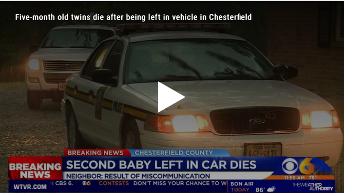 Two 5-month old twins die from baby heat stroke in Virginia.