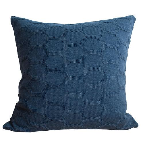 Herdis Dark Blue Knitted Pillow