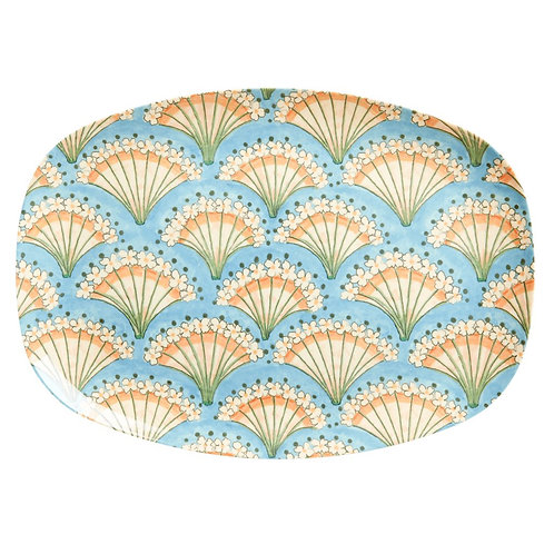 Rectangular Melamine Plate - Flower Fan Print