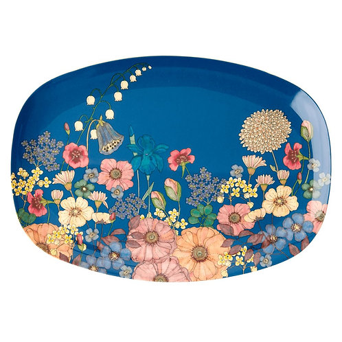Rectangular Melamine Plate - Flower Collage Print
