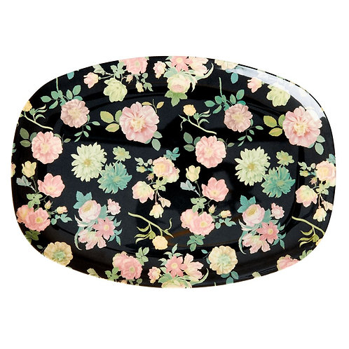 Rectangular Melamine Plate - Dark Rose Print