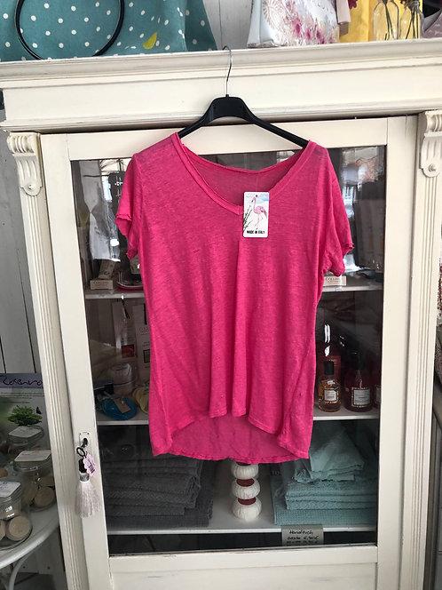 T-Shirt Leinen pink