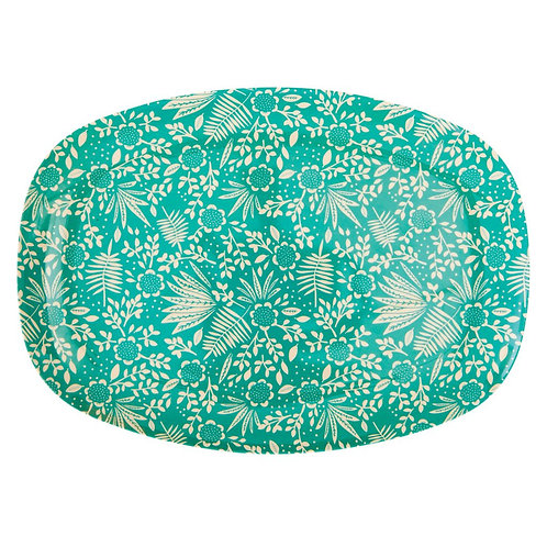 Rectangular Melamine Plate - Fern and Flower Print