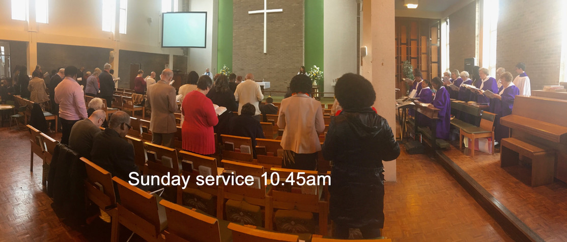 Sunday service with screen and choir