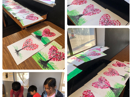 Finger stamping art for your Valentines