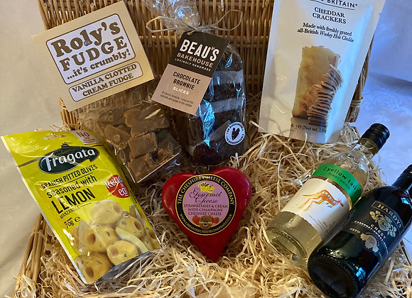 The Heart-y Hamper with Red and White Wine