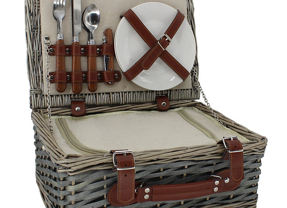 Contemporary Personalised Fitted Lined Picnic Basket for 2 People