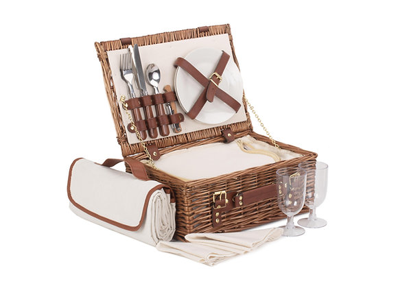 Classic Lined Fitted Picnic Basket for 2 People with Picnic Blanket