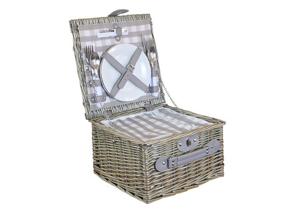 Grey Check Chiller Fitted Picnic Basket for 2 People