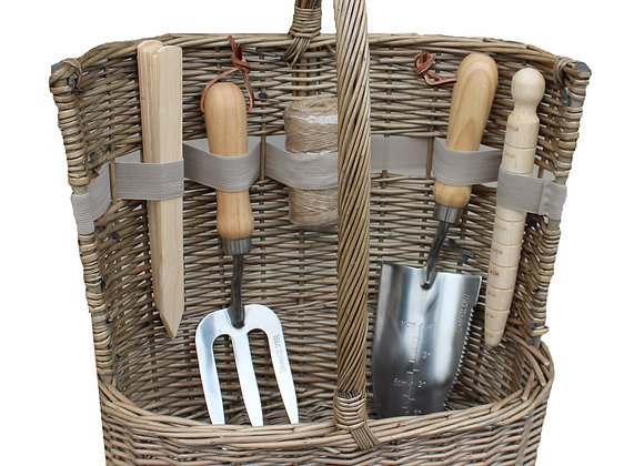 Garden Wicker Basket and Tool Set with personalised leather tag