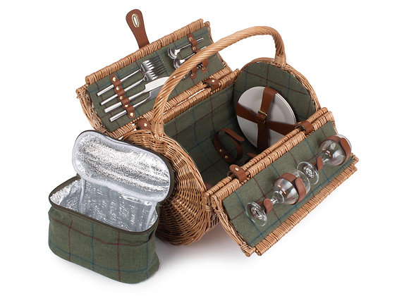 Luxury Lined and Fitted Barrel Picnic Basket for 2 People and Leather Tag