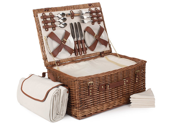 Classic Lined and Fitted Picnic Basket for 6 People with Picnic Blanket