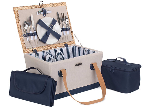Personalised Nautical Lined and Fitted Picnic Basket for 2 people