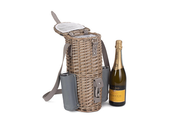 Prosecco/Champagne/Wine Chiller Basket + 2 Glass Flutes with Personalised Tag