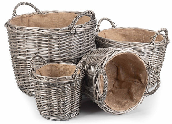 Round Lined Wicker Log Baskets in antique wash finish with hessian lining