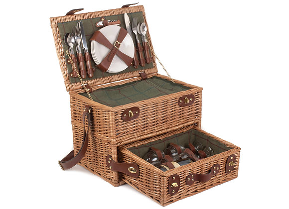 Luxury Lined and Fitted Drawer Picnic Basket for 4 People
