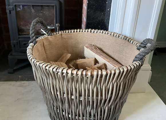 Superb Large X Strong Lined Log Basket + Rope Handles