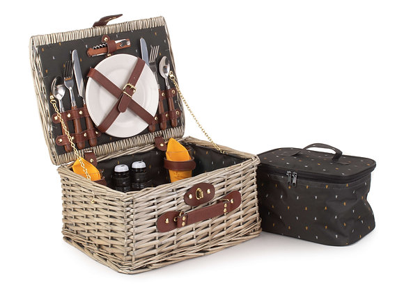 Woodland Lined Fitted Picnic Basket for 2 People