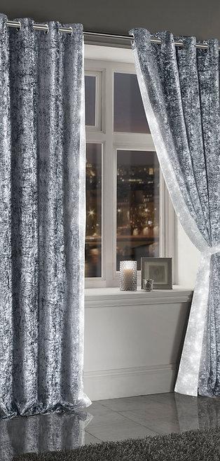 Crushed Velvet Diamante Curtains