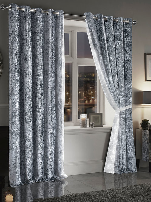 Crushed Velvet Diamante Curtains