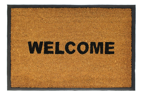 Welcome Coir Rubber Backed Stencilled Indoor/Outdoor Mat 40 x 70 cm