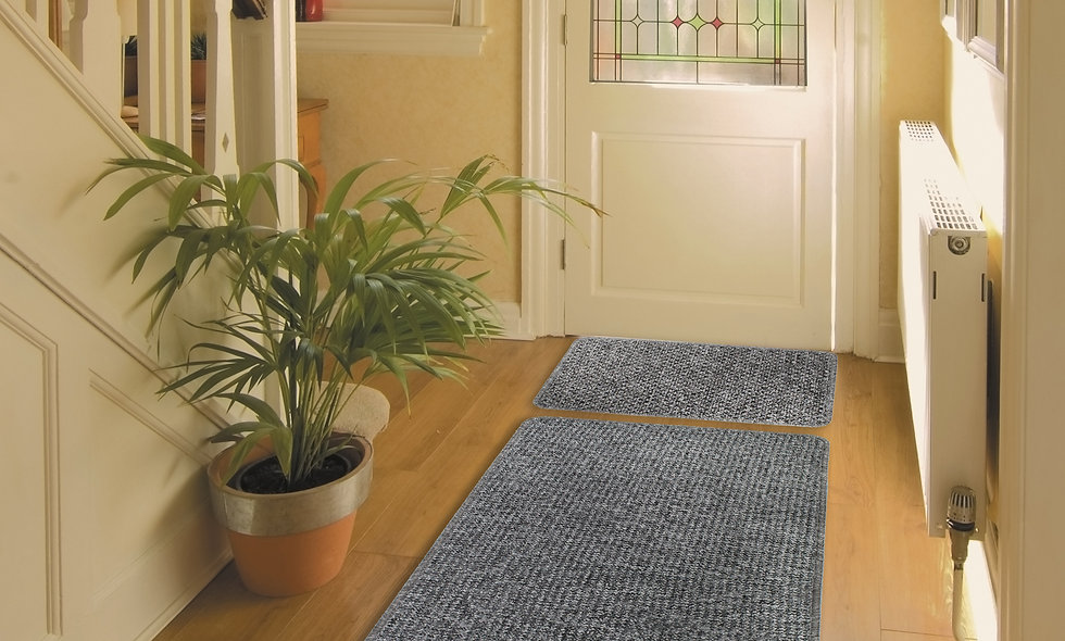 Soft Fleck Mat and Runner Set Latex Backed 40 x 57 cm / 57x180 cm Grey
