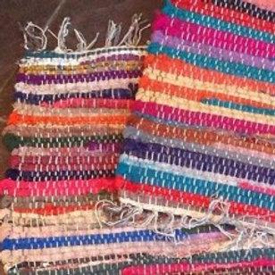 100% Recycled Cotton Handmade Mat Multi Coloured Chindi Floor Rag Rug