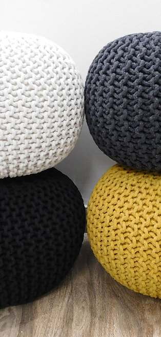 Handmade Knitted Pouffe 100% Cotton