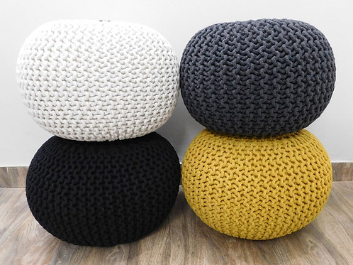Handmade Knitted Pouffe 100% Cotton