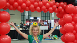 big red balloon arch