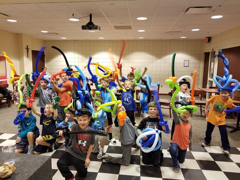 Balloon Sword Army Of Boys At Birthda Party