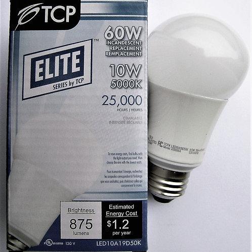 12X TCP 10W (60W Equal) A19 Dimmable 5000K LED Light Bulb LED10A19D50K