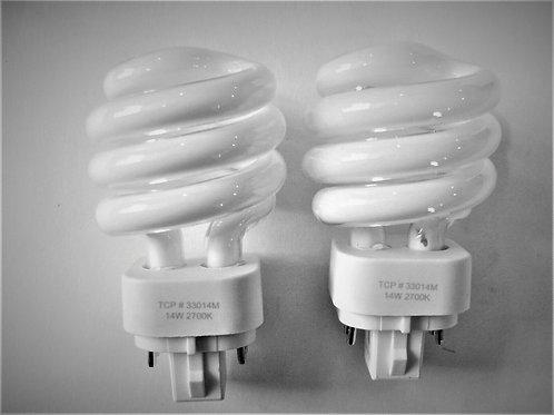 2x 33014M TCP 14W 2700K Mini Spiral 4-Pin Plug In G24q-1 CFL Light Bulb