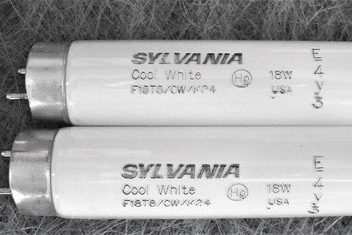 """2x Sylvania F18T8/CW/K24 18W 24"""" T8 4200K Fluorescent Appliance Light Bulbs"""