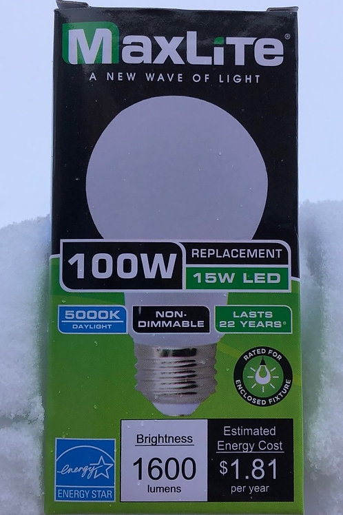 15W 5000K Daylight Enclosed Rated LED Light Bulb 100W Equal E15A19ND/G3