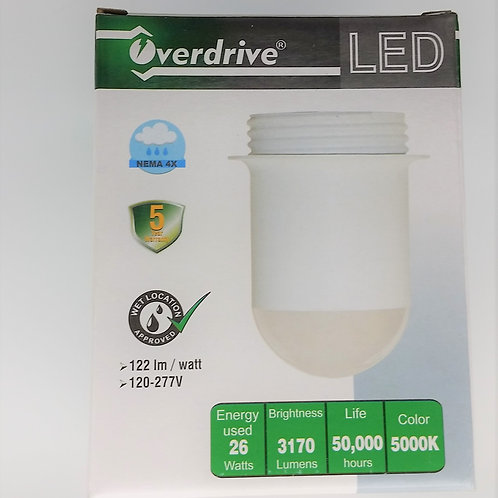 Overdrive EH80 26W 5000K LED Jelly Jar Fixture Wet Location Light