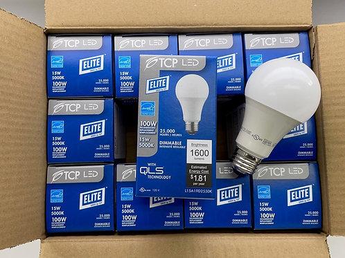12 of TCP 15W (100W Equal) A19 1600L 5000K LED Light Bulb