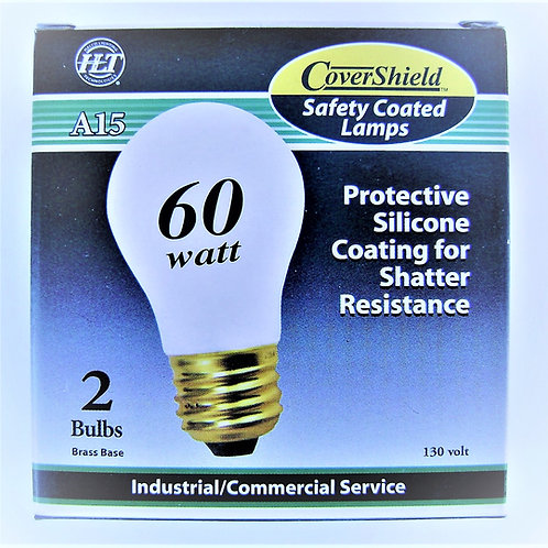 2pk of 60W A15 130V Silicone Coated Appliance/Fan Shatter Resistant Light Bulbs