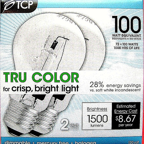 4pk 72W TCP Tru Color A Lamp Halogen Light Bulb 100W Equal Dimmable Lamp