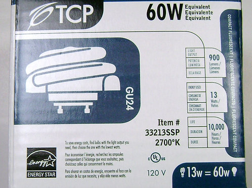 TCP 33213SSP 13W 2700K Low Profile SpringLamp GU24 60W Equal CFL Light Bulb